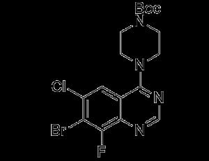 CAS 1698027-20-1, tert-butyl 4-(7-bromo-6-chloro-8-fluoroquinazolin-4-yl)piperazine-1-carboxylate