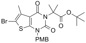 tert-butyl 2-(6-bromo-1-(4-methoxybenzyl)-5-methyl-2,4-dioxo-1,2-dihydrothieno[2,3-d]pyrimidin-3(4H)-yl)-2-methylpropanoate